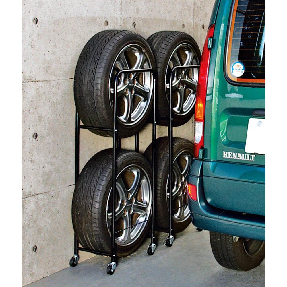 薄型タイヤラック2個組【軽自動車・普通車・大型車対応】【カバー付き有】 タイヤ4本をスリムに収納。オフシーズンのタイヤをコンパクトに保管。ホコリを防いでタイヤを守るカバー付きもご用意。