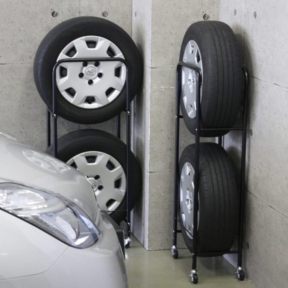 薄型タイヤラック2個組【軽自動車・普通車・大型車対応】【カバー付き有】 スリム設計で設置場所を選びません。