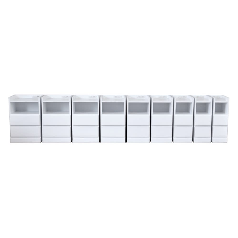 すき間ナイトテーブル (ア)ホワイト ※左から幅40・幅37.5・幅35・幅32.5・幅30・幅27.5・幅25・幅22.5・幅20cmです。