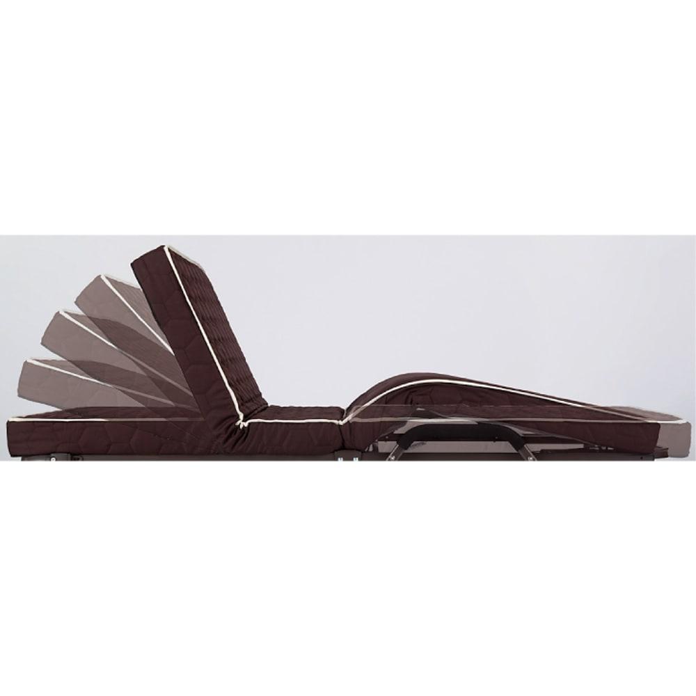 開梱してすぐ使える![組立不要]低反発ダブルリクライニング電動ベッド 背部70度、脚部12cmまで連動して無段階可動。お好みの角度で止められます。