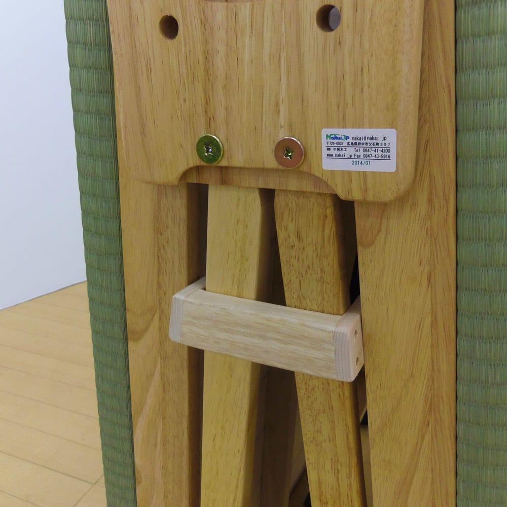 畳空間を簡単に演出できる折りたたみベッド(棚なし) 開き留めはストッパーは下に押し込んでご使用ください。
