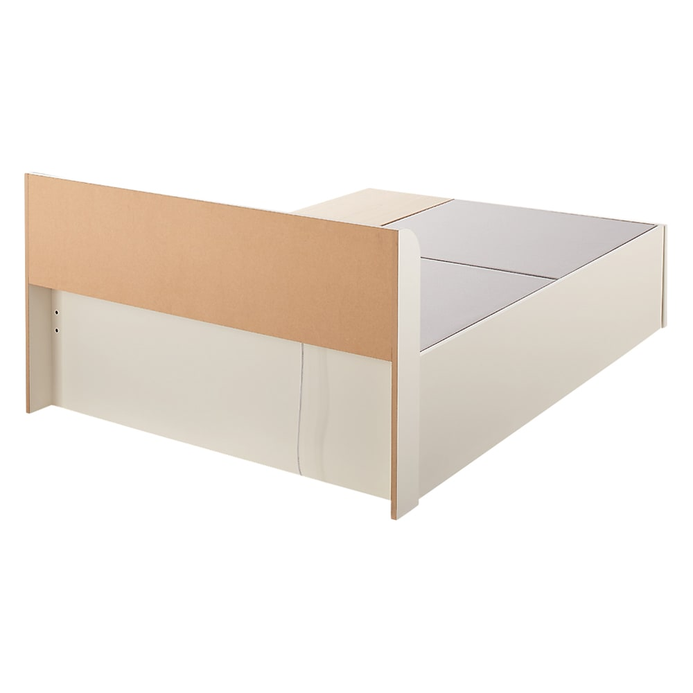 寝そべりながらタブレットが使えるベッド ポケットコイルマットレス(厚さ19cm)付き (ア)ホワイト