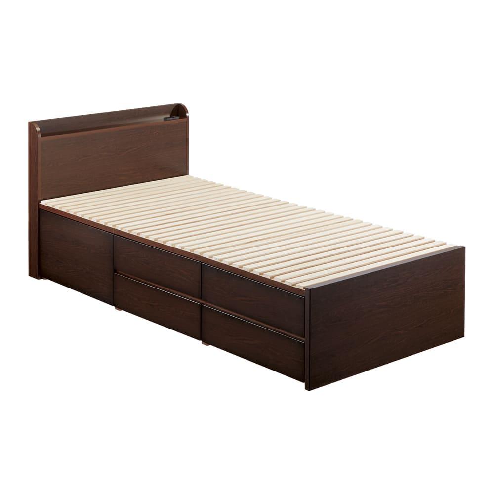 布団が使える洋服たんすベッド ヘッド付き(高さ80・床面まで41cm) 【シングル】ベッド下の引き出しは、左右どちらにも設置できます。