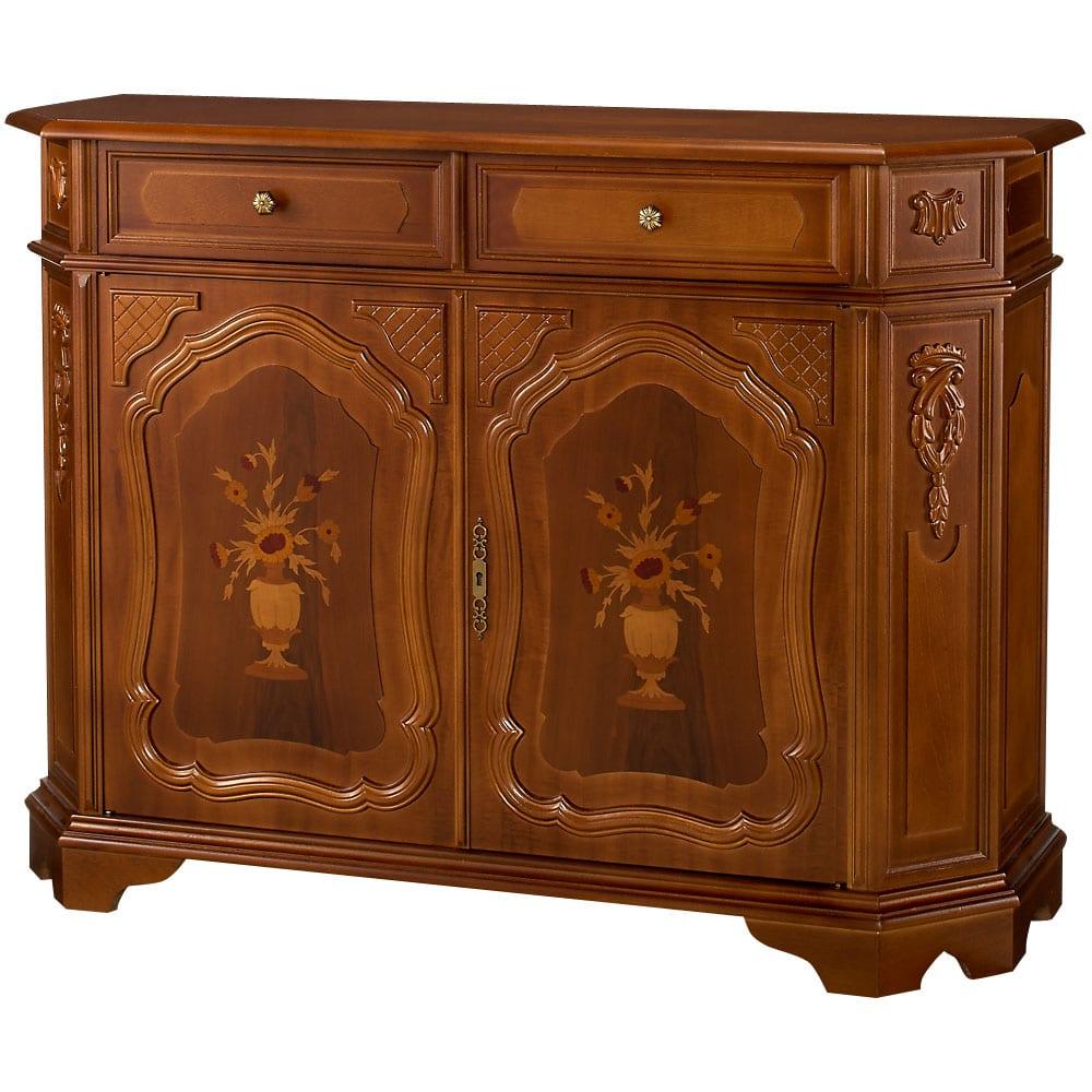 イタリアン家具シリーズ 象がんサイドボードキャビネット・幅124cm イタリア家具の伝統的なデザイン。
