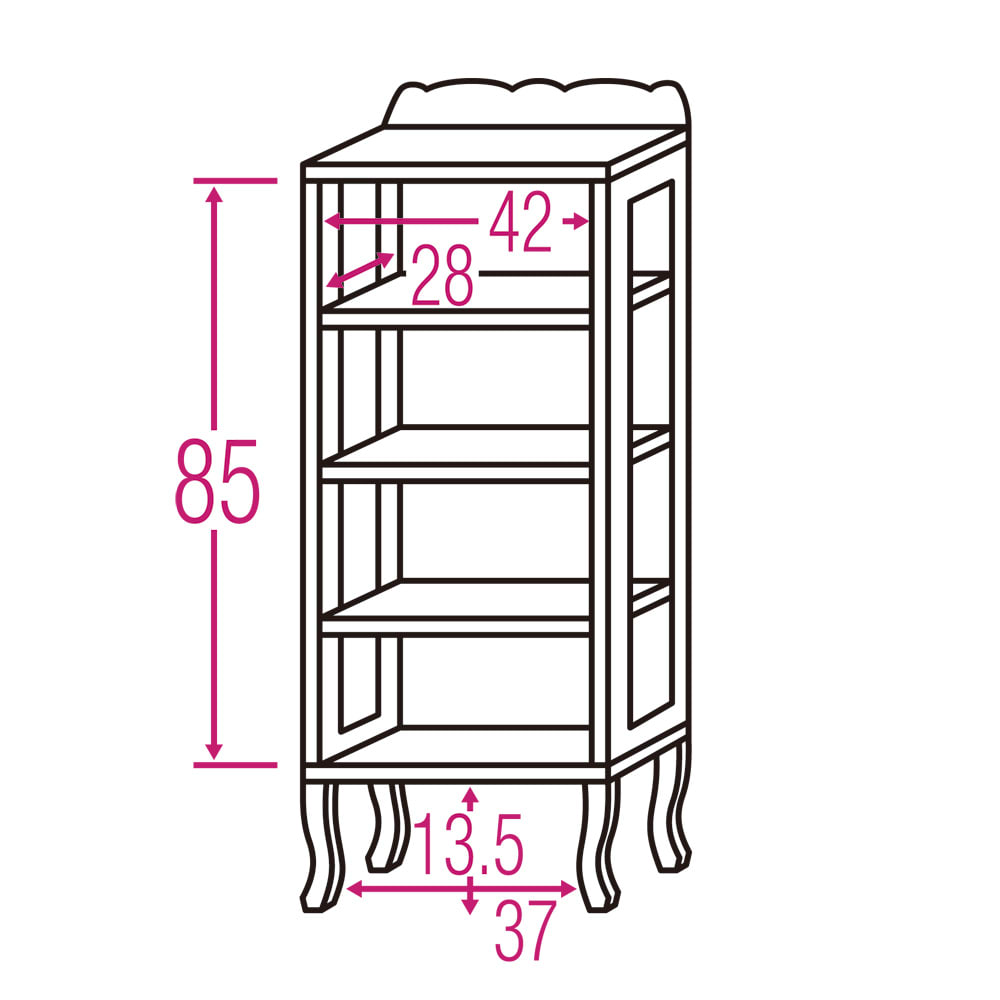 アンティーククラシックシリーズ コレクションキャビネット ハイタイプ 内寸図(cm)