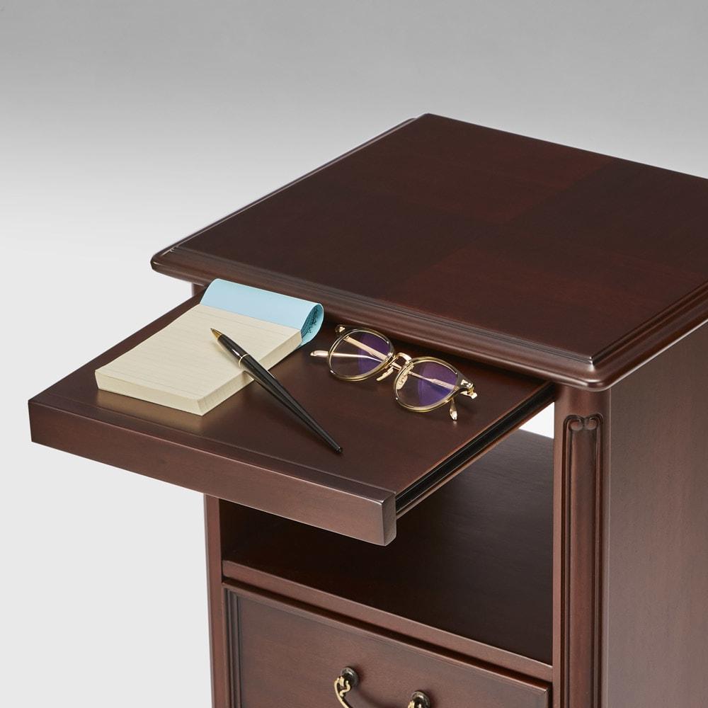 クラシカルロイヤル ケントハウスシリーズ オープンチェスト・幅40cm ちょっとした小物が置けるスライドテーブルが便利です。