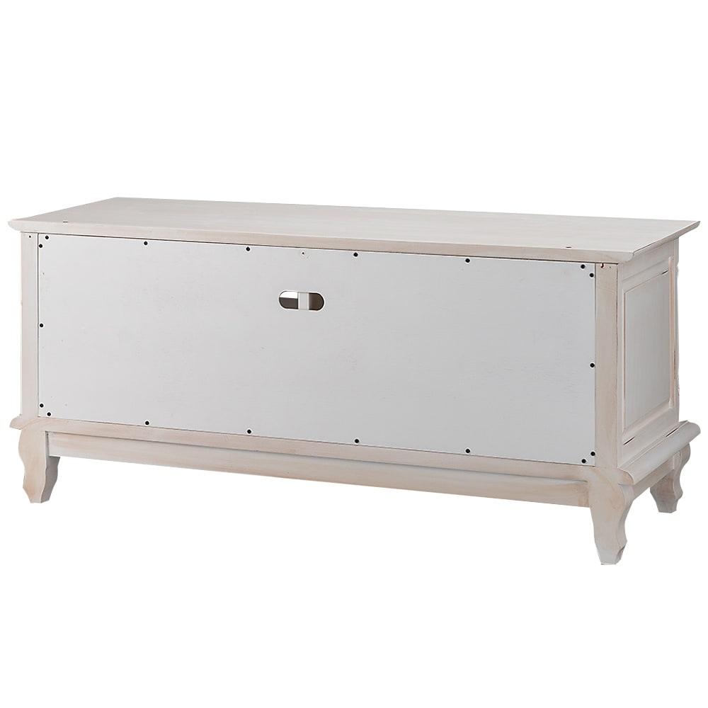 アンティーク調クラシック家具シリーズ テレビ台・幅113cm ホワイトの背面:配線用のコード穴付きです。