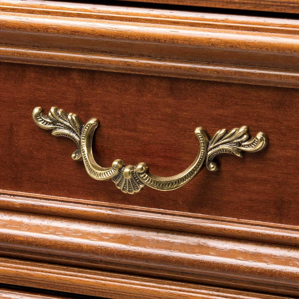 イタリア製 コンパクト収納家具シリーズ 薄型5段チェスト クラシカルな取っ手を使用し高級感あふれる表情に。