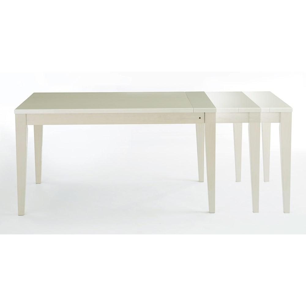 光沢が美しい 伸長式 モダンダイニング お得な4点セット(ダイニングテーブル+チェア2脚+ベンチ大) 追加天板は幅20cm、30cmの2サイズ。幅130cmから、150cm、160cm、最大180cmの4段階で用途にあわせて伸長できます。