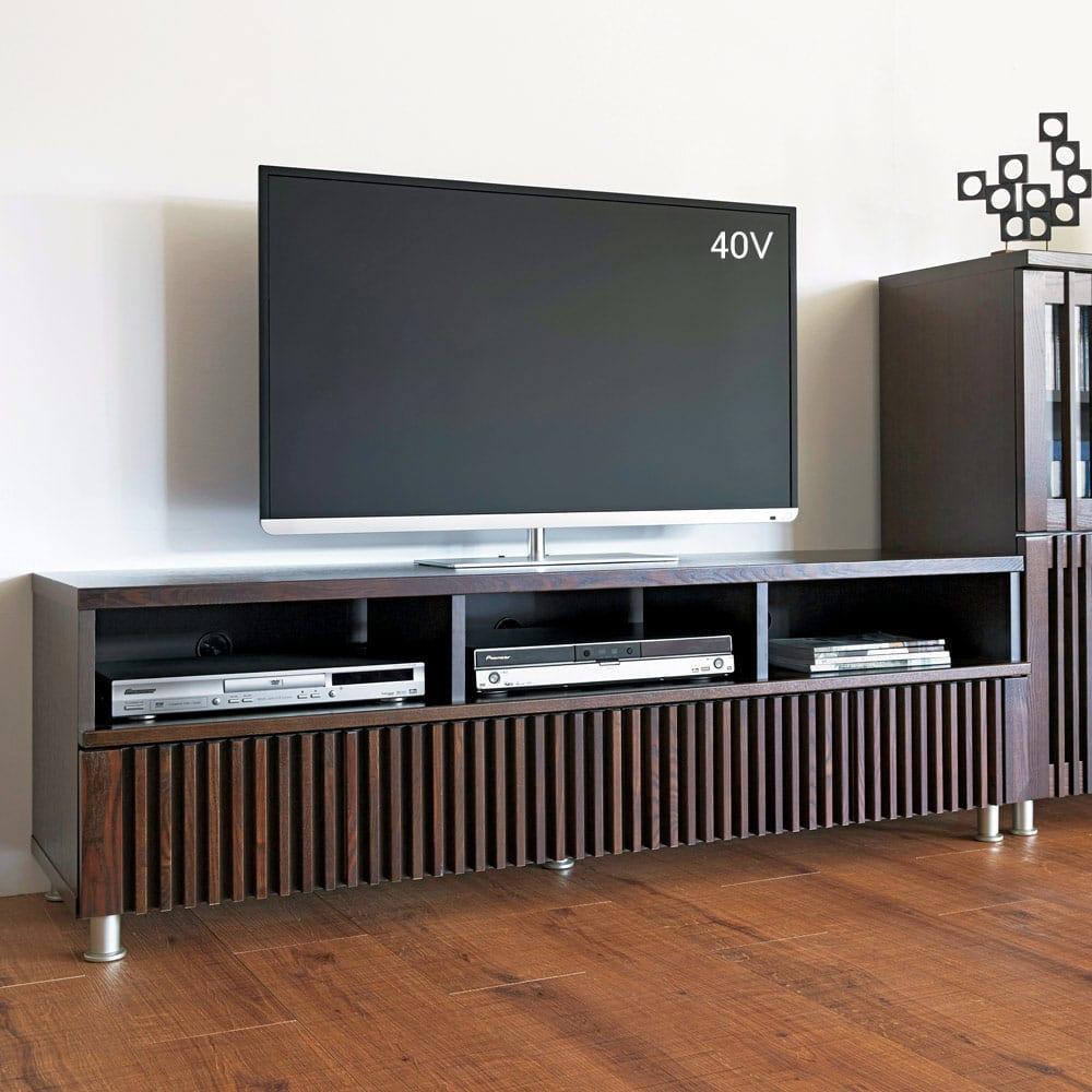 和モダン 格子リビング収納シリーズ テレビ台 幅150cm 木目がはっきりとしたタモ材に格子デザインをプラス。(イ)ダークブラウン