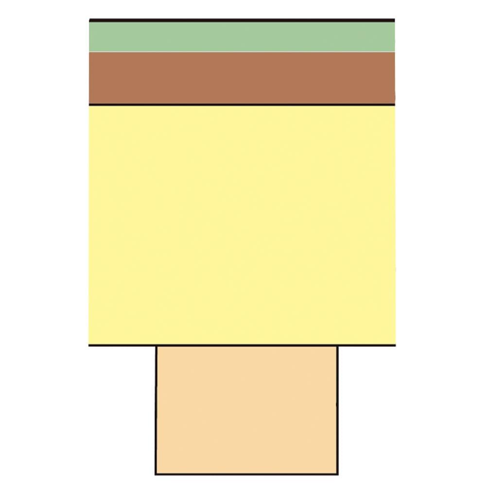 ユニット畳シリーズ 1畳専用替え畳 【畳部の断面図】 グリーン…い草(天然素材) ブラウン…ウレタンパッド0.5cm(圧縮時0.2~0.3cm) イエロー…パーチクルボード(底部1.5cm厚) オレンジ…ズレ防止用合板(0.9cm厚)