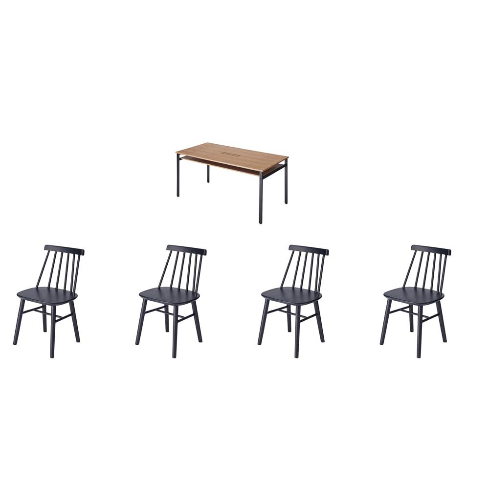 おうちの時間が快適になるオーク天然木ブルックリンダイニングシリーズ 5点セット(テーブル・幅150cm+ウィンザーチェア4脚) お届けの5点セット内容・・・幅150テーブル+ウィンザーチェア4脚
