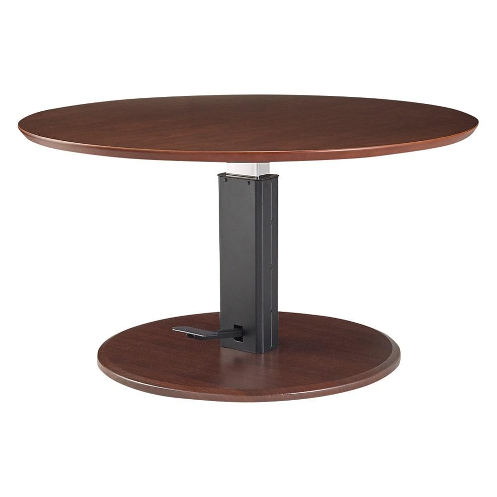 高さ自由自在!カフェスタイルダイニング 丸形昇降テーブル単品・径90cm ダークブラウン テーブル高さ60センチの状態