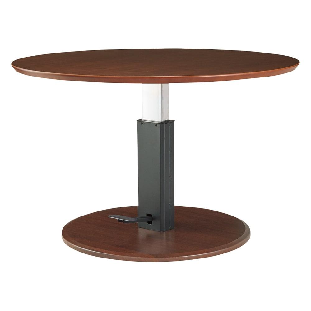 高さ自由自在!カフェスタイルダイニング 丸形昇降テーブル単品・径110cm ダークブラウン テーブル高さ70センチの状態