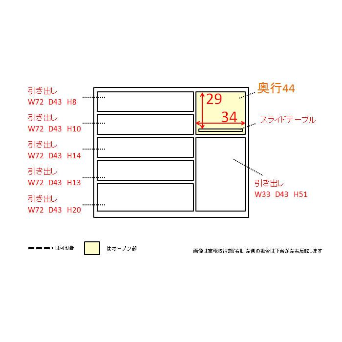 家電が使いやすいハイカウンター奥行50cm キッチンカウンター高さ101cm幅120cm/パモウナVQL-1200R 下台 VQR-1200R 下台 内寸図(単位:cm)