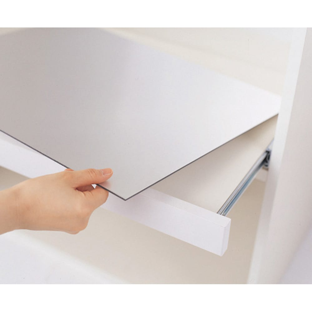 家電が使いやすいハイカウンター奥行50cm キッチンカウンター高さ101cm幅120cm/パモウナVQL-1200R 下台 VQR-1200R 下台 スライドテーブルのアルミボードは取り外して洗え、裏返しての使用も可能。両面使えるので長持ちキレイ。