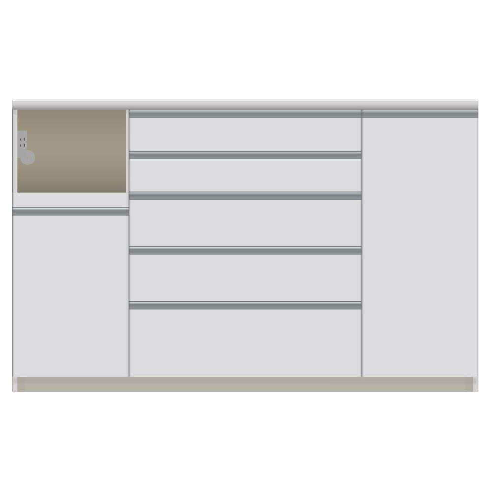 家電が使いやすいハイカウンター奥行50cm キッチンカウンター高さ101cm幅160cm/パモウナVQL-1600R 下台 VQR-1600R 下台 (イ)家電収納部:左 お届けの商品はこちらになります。