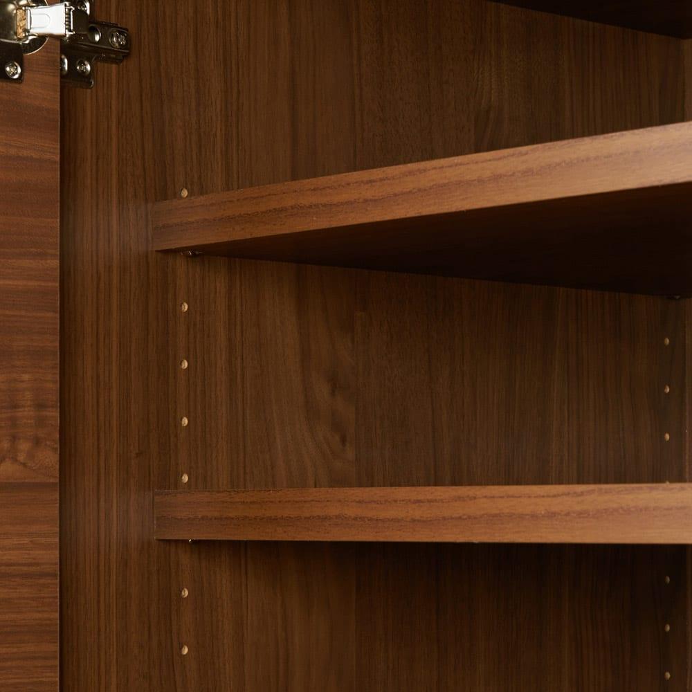 大型レンジがスッキリ隠せるダイニングボードシリーズ 食器棚・幅77.5cm 可動収納棚板4枚付き  可動棚板は3cm間隔で20段の調節が可能です。