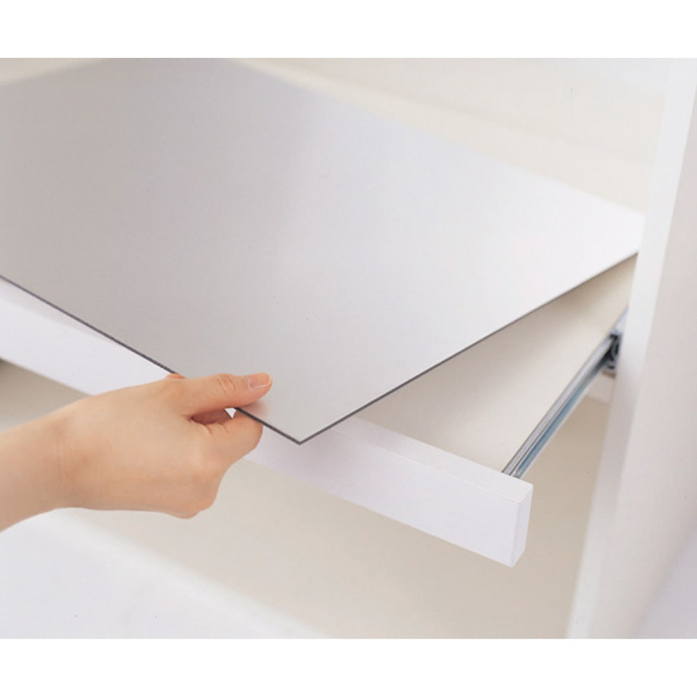 ハイカウンターダイニング ガラス扉タイプ ハイカウンターボード W100D50H203/パモウナ JQL-1000R JQR-1000R スライドテーブルのアルミボードは取り外して洗え、裏返しての使用も可。