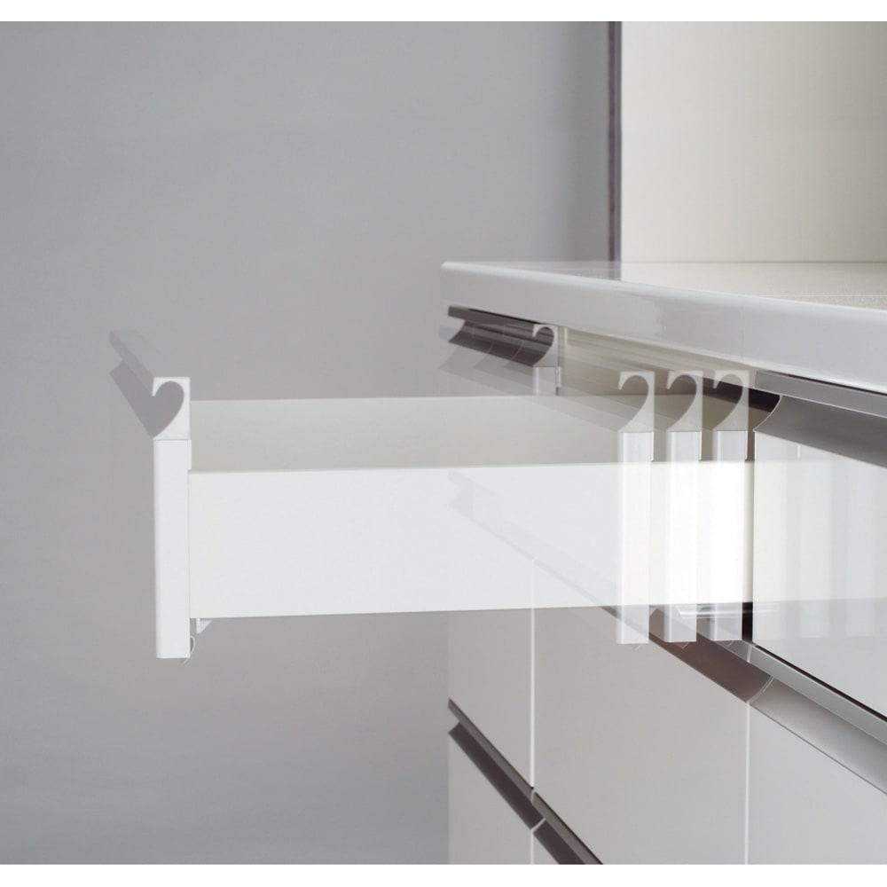 ハイカウンターダイニング ガラス扉タイプ カップボード W60D50H203/パモウナ JQ-600K 引出しはゆっくり静かに閉まるサイレントレール。