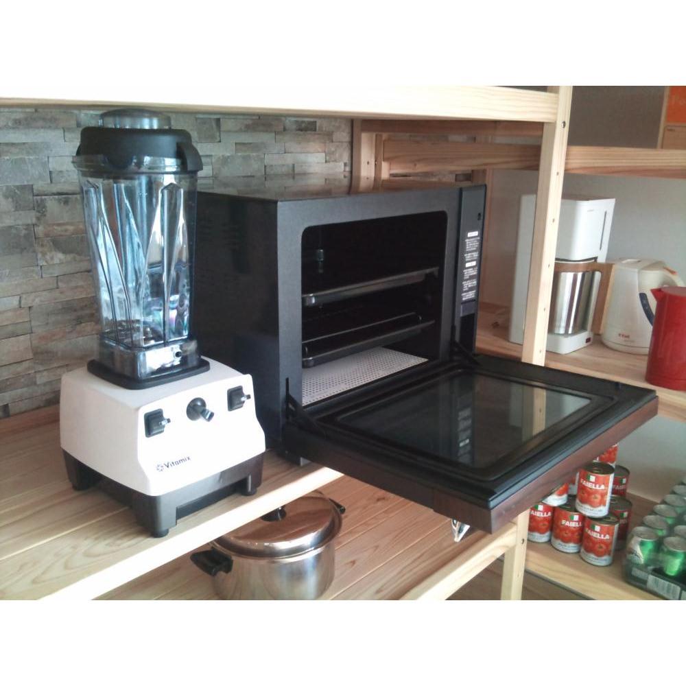 国産杉の無垢材キッチン収納 パントリーキッチンラック 幅149cm奥行38cm 調理家電やキッチン家電の収納に便利なオープンラック。