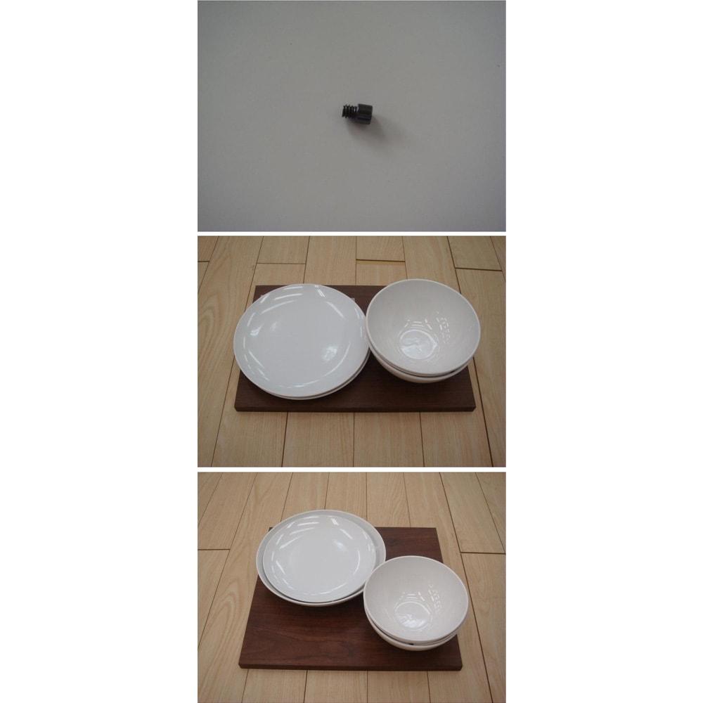 アルダー天然木アールデザインシリーズ キッチンボード 幅80cm 可動棚板イメージ  可動棚板はねじ込みのダボでしっかり固定