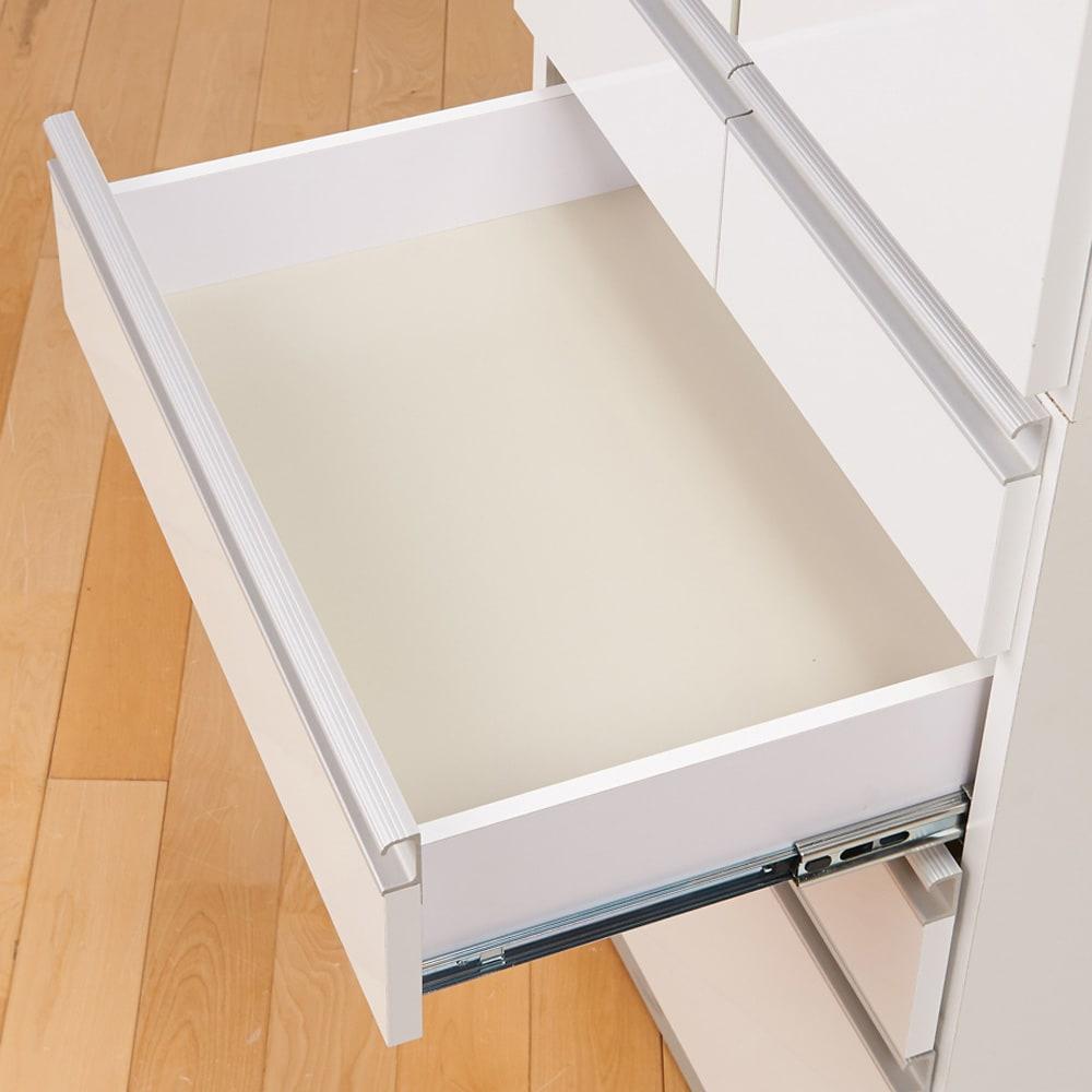 シンプルラインダイニングボードシリーズ 食器棚 幅88.5 高さ173.5cm 引き出しは内部化粧仕上げ。