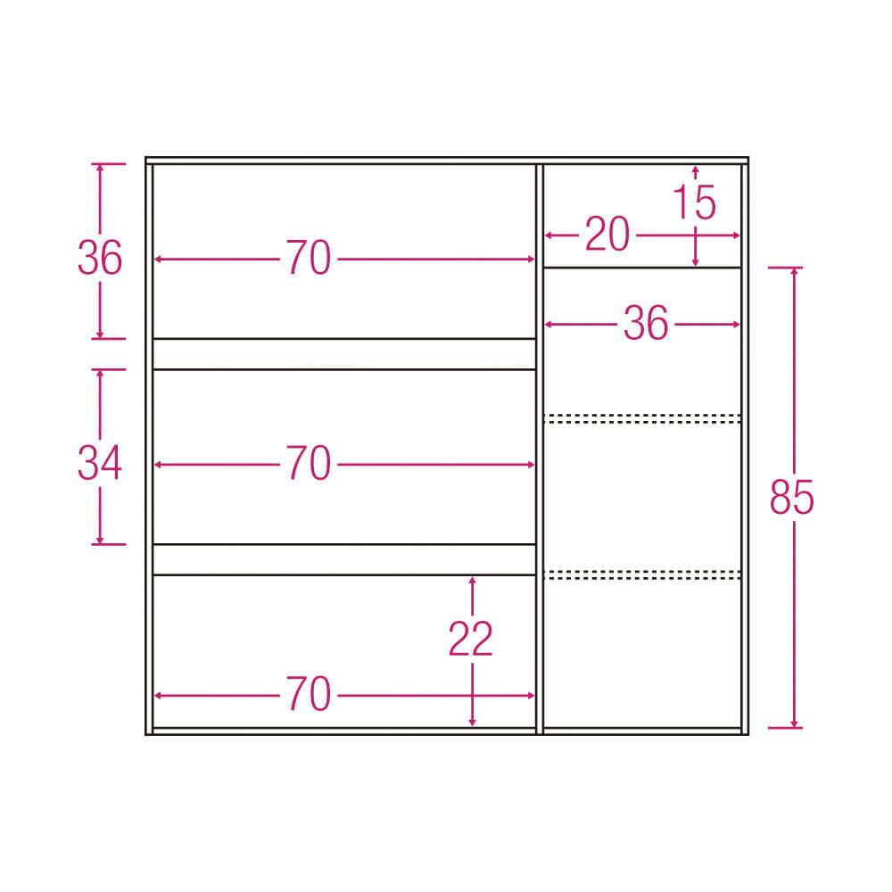 サイズが選べる家電収納キッチンカウンター ハイタイプ 幅120cm 内寸図(単位:cm)