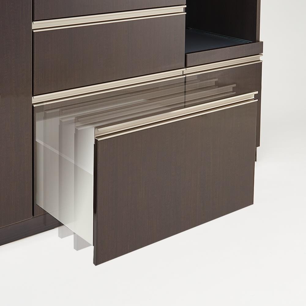 高機能 モダンシックキッチンシリーズ キッチンボード 幅120高さ178cm(カウンター高さ85cm) 軽く押すだけで自動的に静かに締まります。