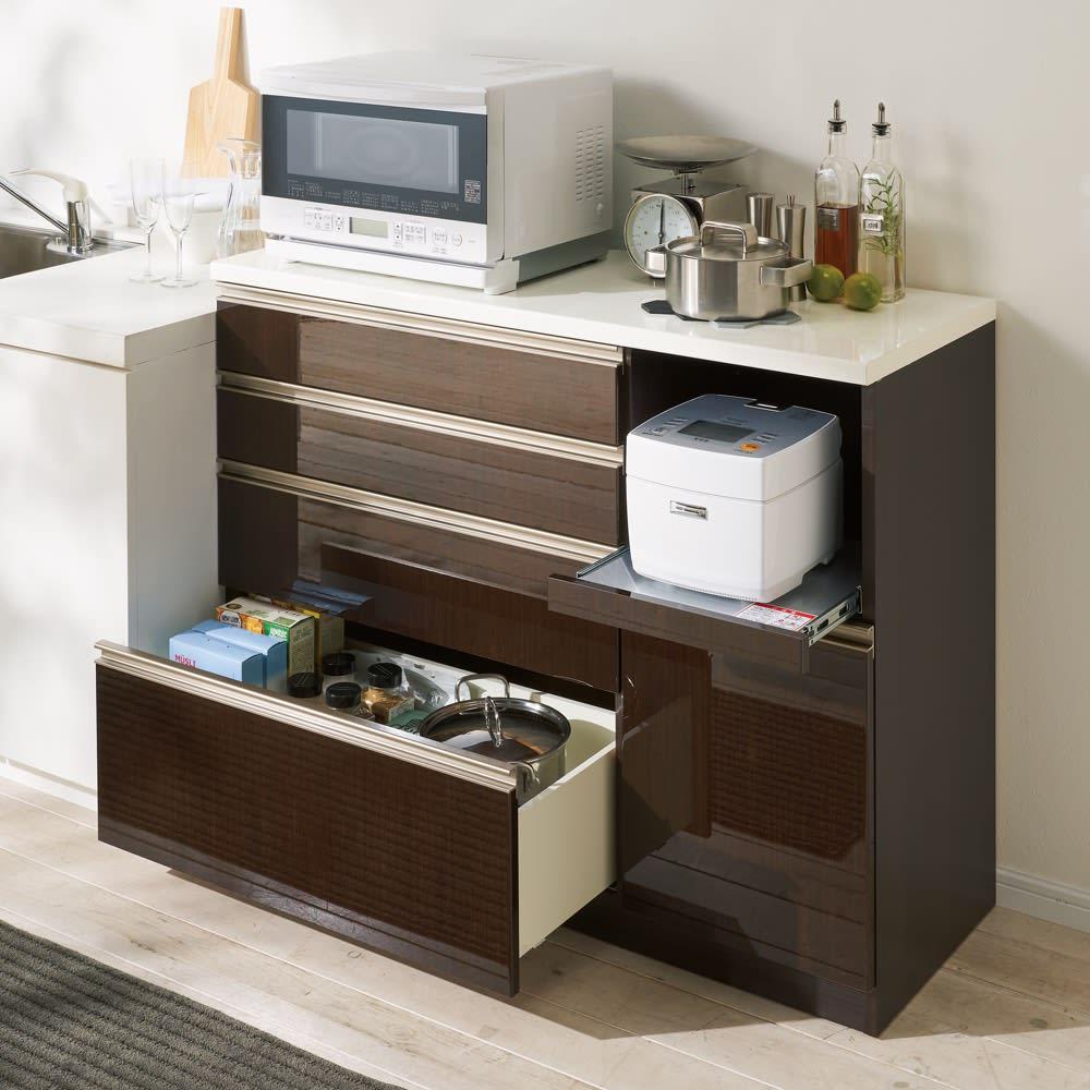 高機能 モダンシックキッチンシリーズ キッチンカウンター 幅120高さ85cm 使用イメージ