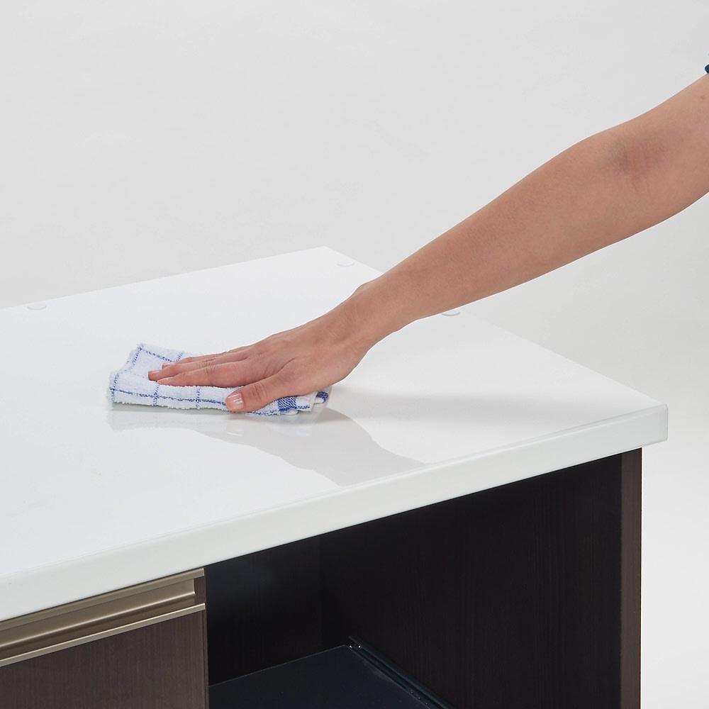 高機能 モダンシックキッチンシリーズ キッチンカウンター 幅120高さ85cm 耐汚染性に優れたクリスタル・ハイグロス。