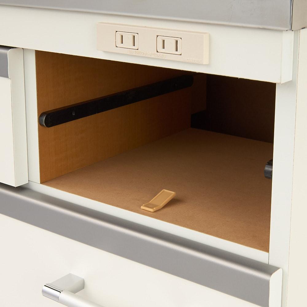 収納しやすいステンレストップカウンター 家電収納タイプ幅89cm 小引き出しにはストッパー付き。