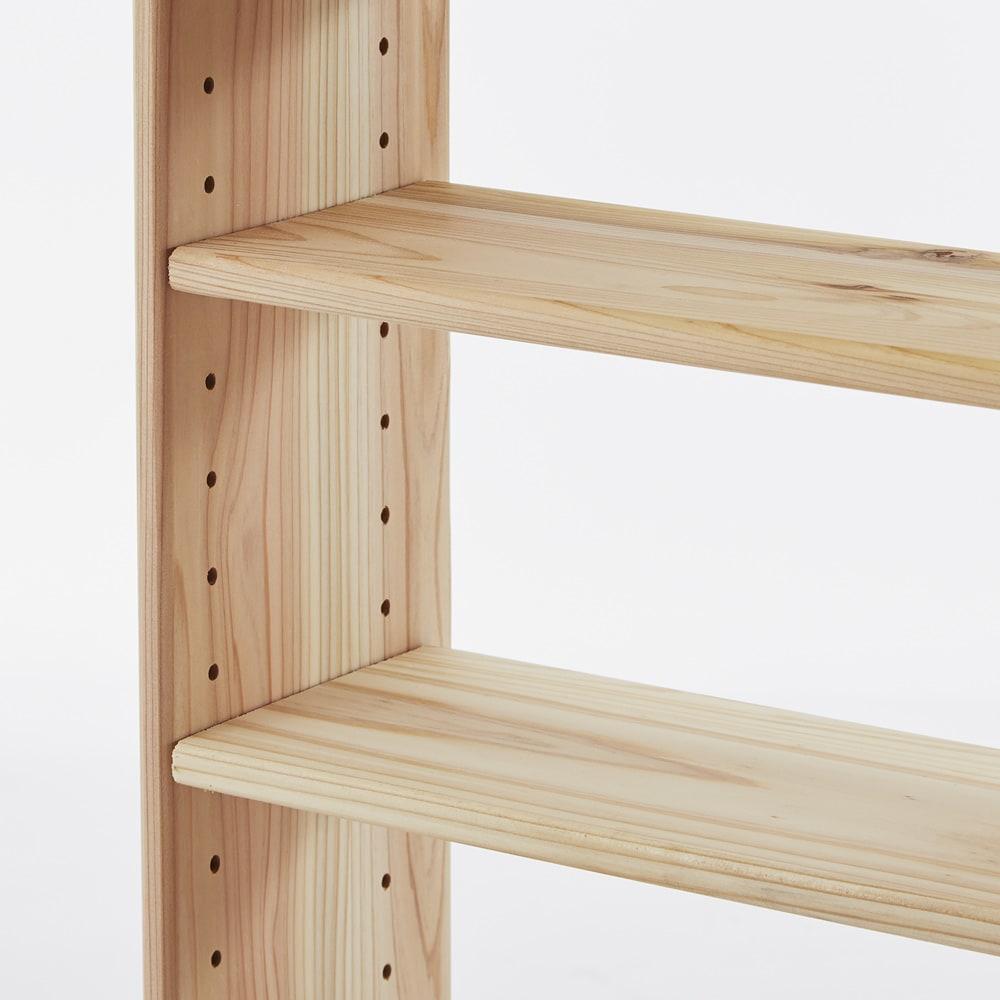 薄型奥行15cm 国産杉の天然木ラック 幅120.5高さ100cm 棚板は3cmピッチで移動できます。