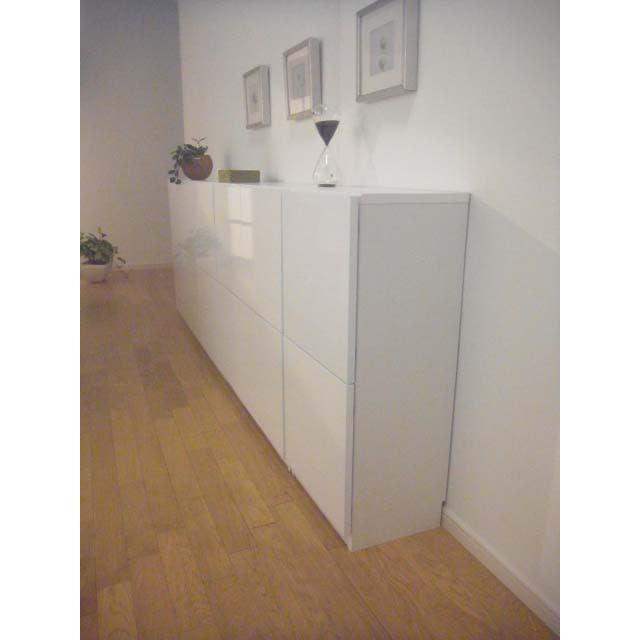 国産!ツヤツヤ光沢が美しい 薄型スクエアキャビネット(奥行22cm) 収納庫・幅120cm 薄型収納なのでスペースを広々使えるおしゃれな収納庫です。