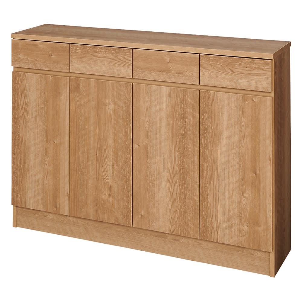 家電も小物も使いやすくしまえるカウンター下収納庫 カウンター扉 幅117.5cm (イ)ブラウン