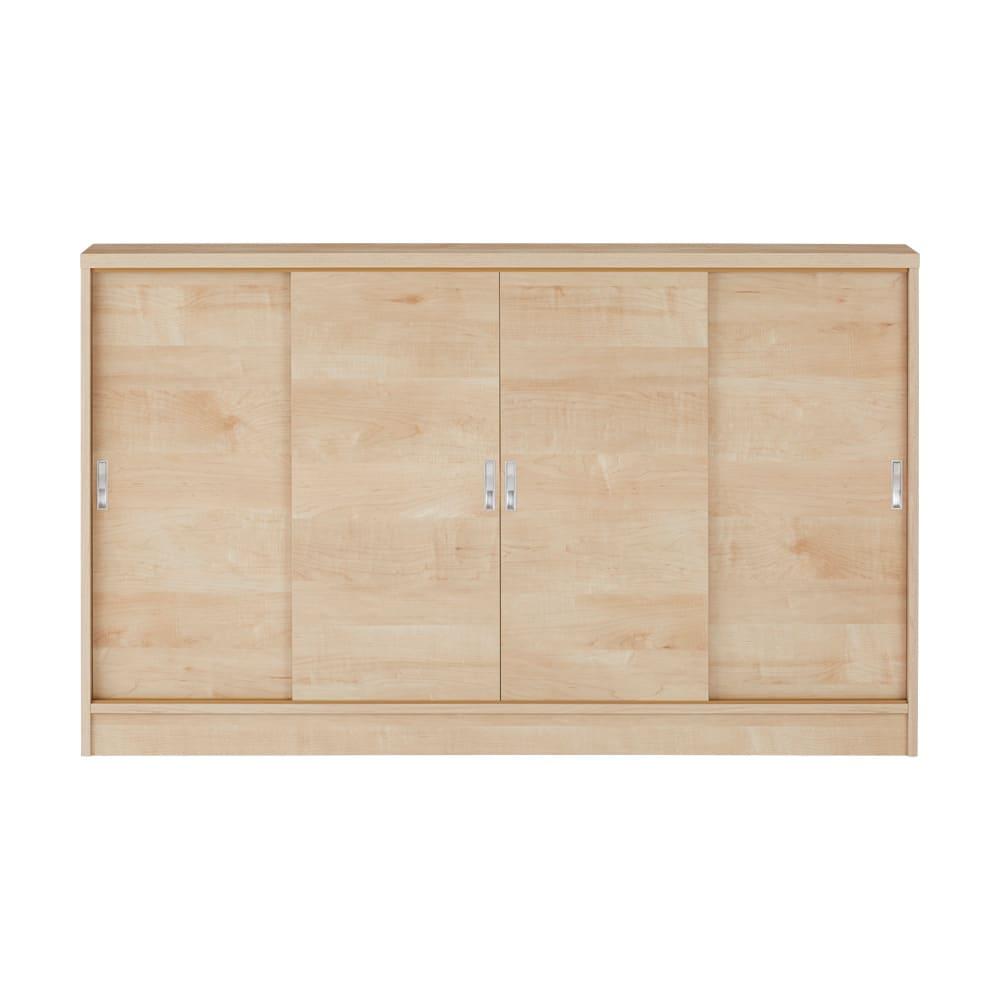 1cmピッチで棚板調整カウンター下引き戸収納庫 幅150cm(4枚扉) 奥行21.5cm・高さ70cm (イ)ナチュラル