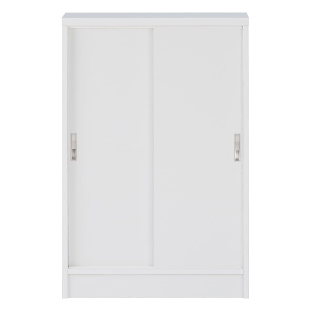 1cmピッチで棚板調整カウンター下引き戸収納庫 幅60cm(2枚扉) 奥行30cm・高さ70cm (ウ)ホワイト