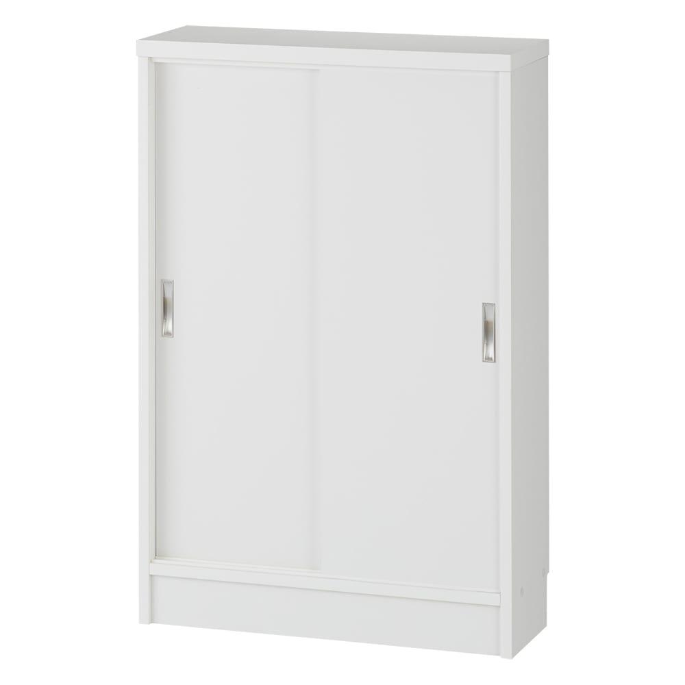 1cmピッチで棚板調整カウンター下引き戸収納庫 幅60cm(2枚扉) 奥行21.5cm・高さ90cm (ウ)ホワイト ※お届けする商品です。