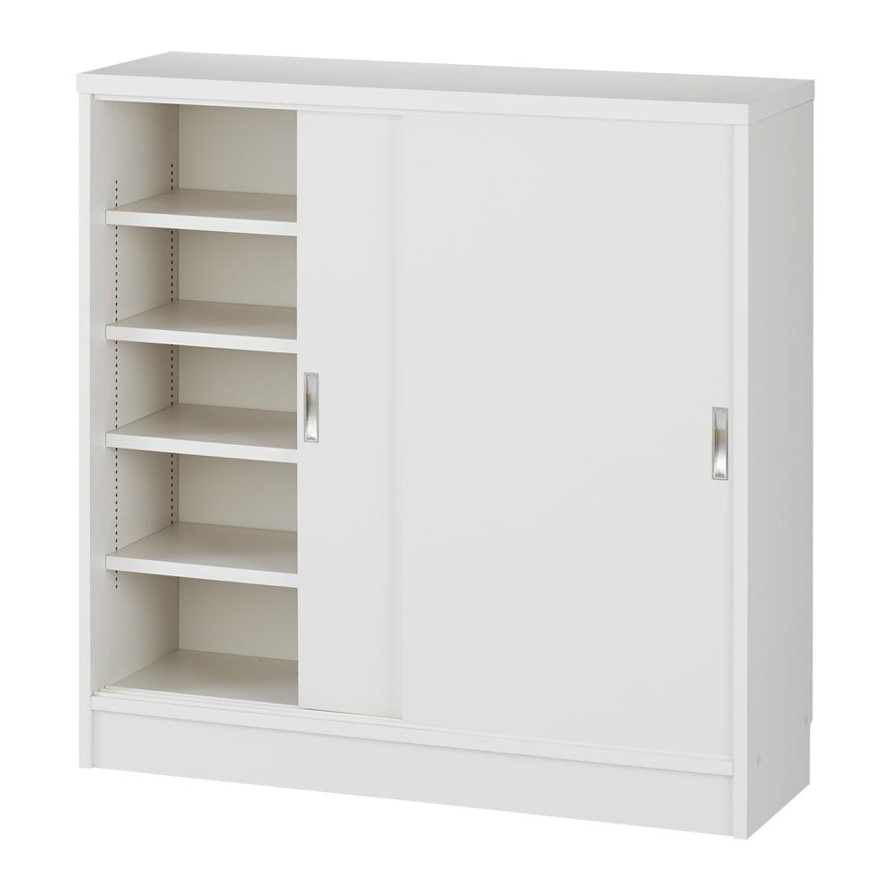 1cmピッチで棚板調整カウンター下引き戸収納庫 幅90cm(2枚扉) 奥行21.5cm・高さ90cm (ウ)ホワイト※お届けする商品です。