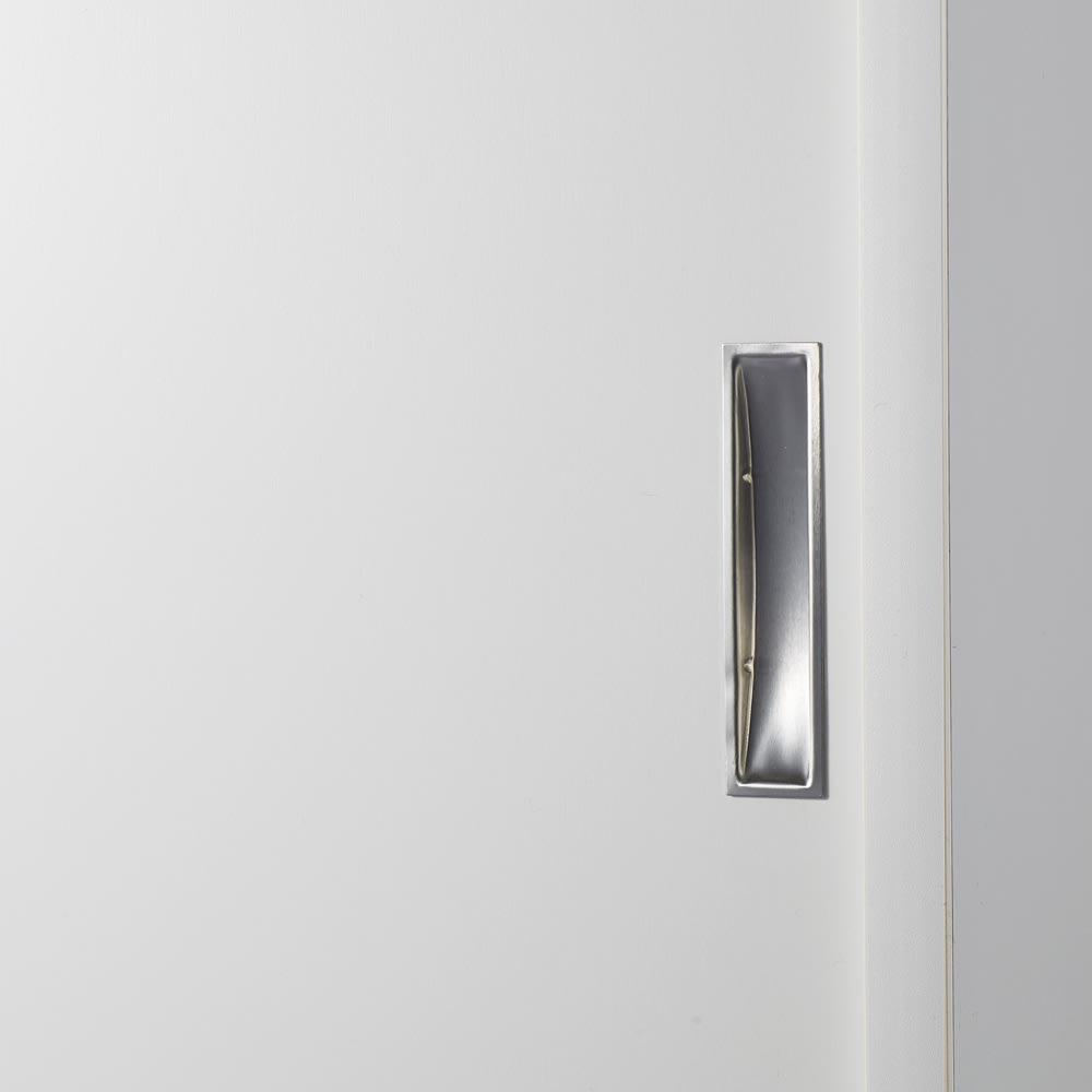1cmピッチで棚板調整カウンター下引き戸収納庫 幅90cm(2枚扉) 奥行21.5cm・高さ90cm (ウ)ホワイト
