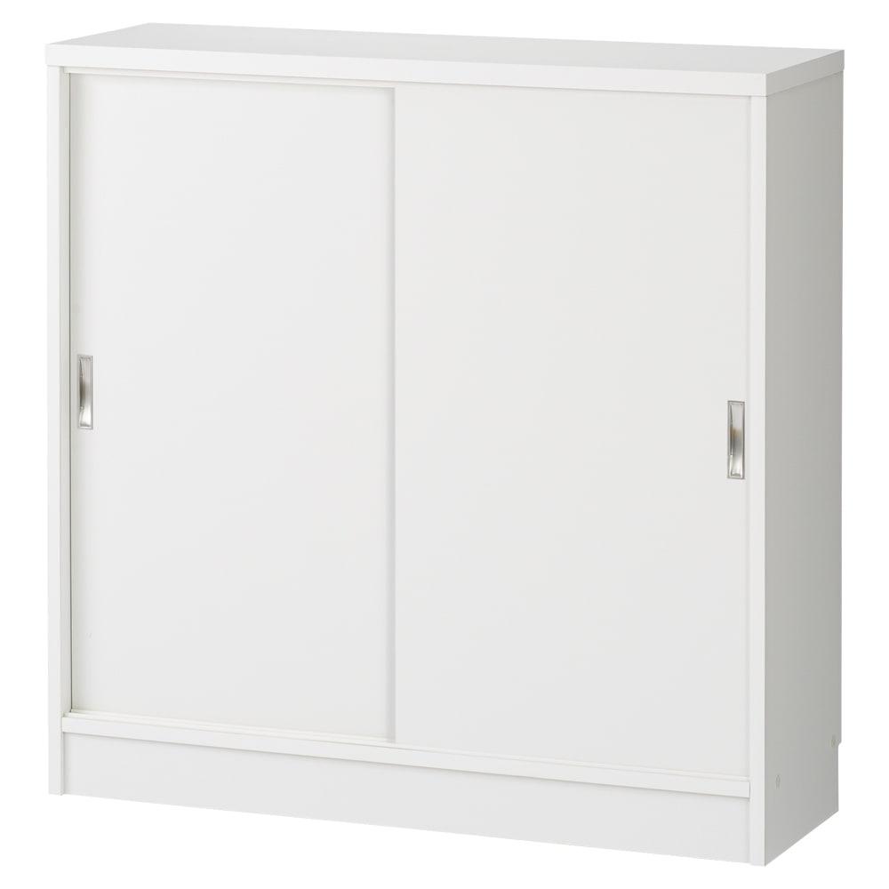 1cmピッチで棚板調整カウンター下引き戸収納庫 幅90cm(2枚扉) 奥行30cm・高さ90cm (ウ)ホワイト ※お届けする商品です。