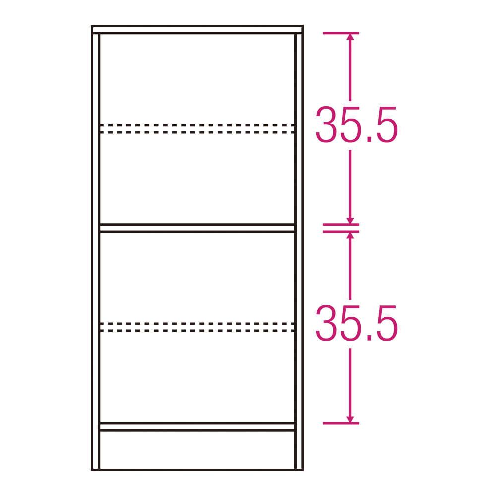 スクエア木目カウンター下収納  1列2マス 幅40cm奥行34cm 内寸図(単位:cm)
