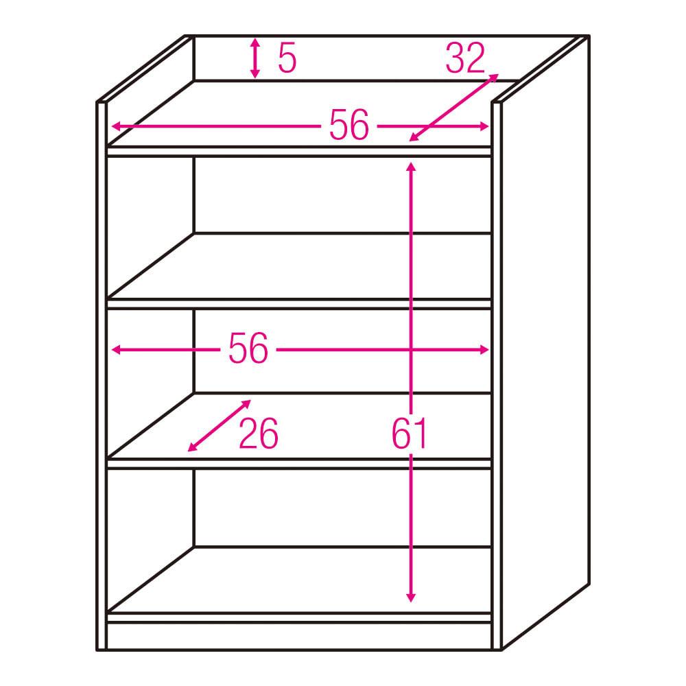 コンセント付き引き戸カウンター下収納庫 幅60cm奥行35cm 内寸図(単位:cm)