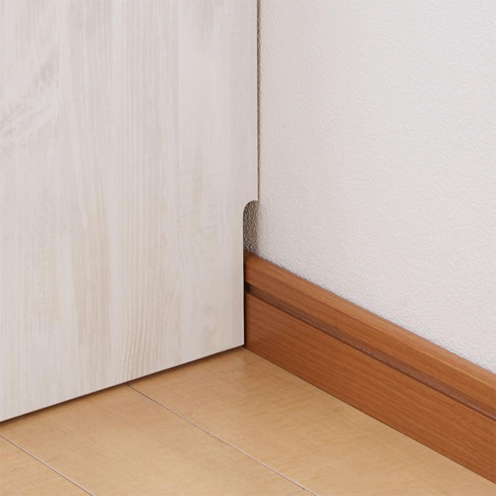 ヴィンテージ調ホワイト木目カウンター下収納庫 幅150cm高さ90cm 幅木よけ1×9cm