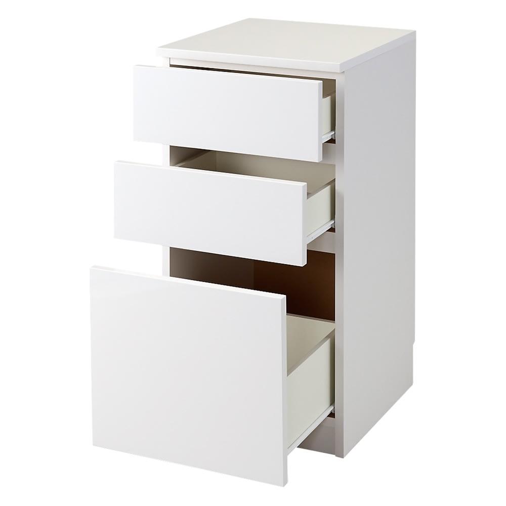 組立不要!幅1cm単位で62サイズから選べるすき間収納庫 ロータイプ 幅31~45cm・奥行45cm (ア)ホワイト