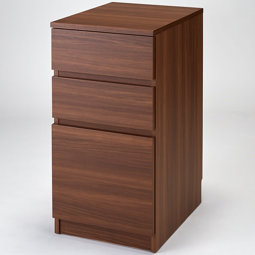 組立不要!幅1cm単位で62サイズから選べるすき間収納庫 ロータイプ 幅31~45cm・奥行45cm (ウ)ブラックウォルナット木目