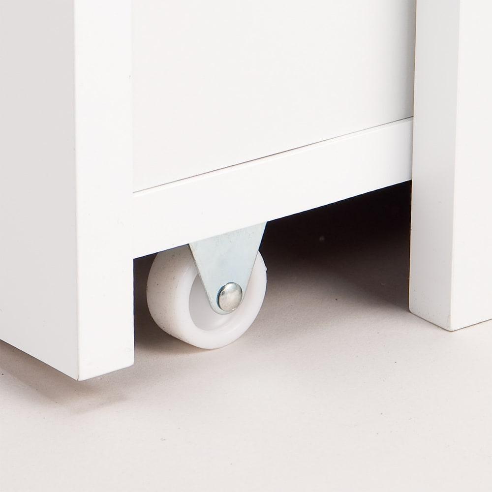 ボックス付きリバーシブル すき間収納庫 幅21奥行47cm 本体をスムーズに引き出すための、キャスター仕様。