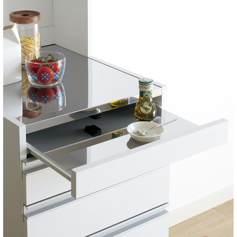 光沢仕上げダブルステンレス天板すき間収納庫 ロータイプ高さ85cm 幅30cm スライドテーブルもステンレス仕上げ。調理中のちょい置きに便利。