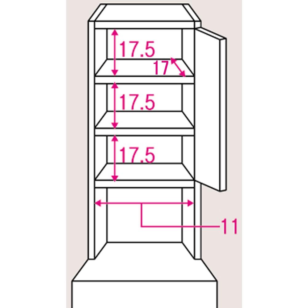 水ハネに強いポリエステル仕様 キッチンすき間収納庫 奥行55cm・幅15cm ハイタイプ 上段棚部のサイズ入り詳細図。棚板は3cmピッチで可動できます。