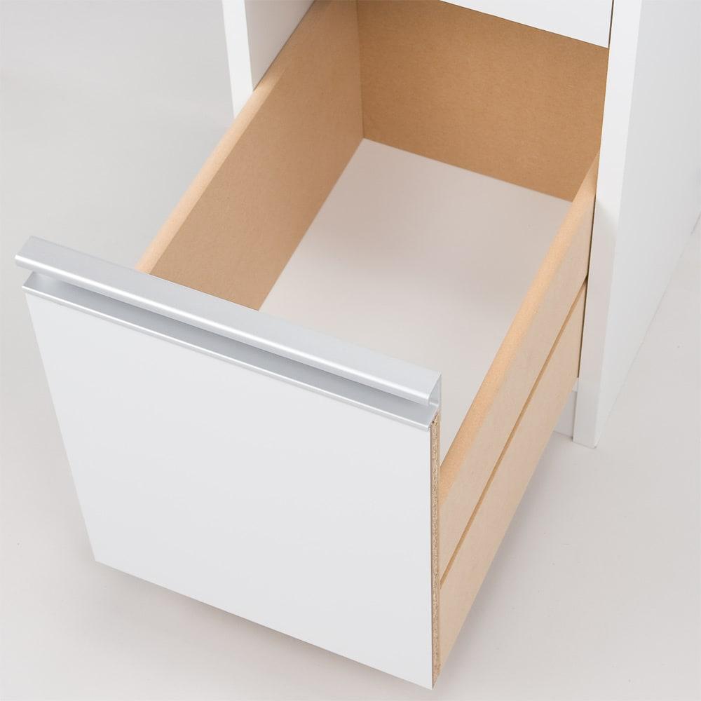 水ハネに強いポリエステル仕様 キッチンすき間収納庫 奥行55cm・幅30cm ハイタイプ 引出しの底板は化粧仕上げです。